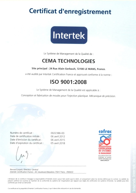 CERTIFICATION 2015
